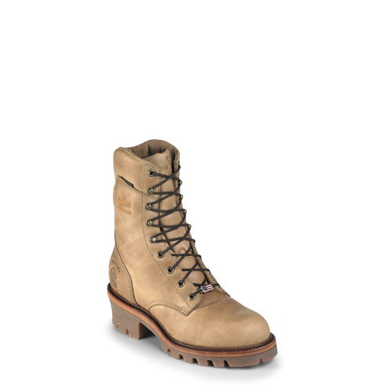 "Image for 9"" GOLDEN BEIGE W/P INS STEEL TOE LOGGER boot; Style# 25417"