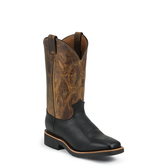 """Image for 12"""" BLACK PITSTOP SQUARE TOE PULLON boot; Style# 29328"""