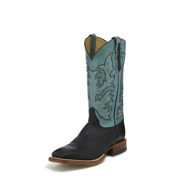Justin Boots 8290 Descaro Black Pull Up Smooth Ostrich