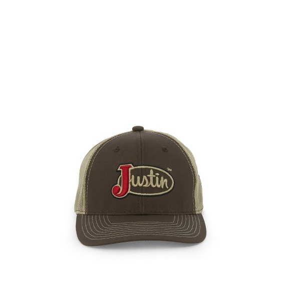 Image for JUSTIN CAP-BROWN W/TAN MESH ; Style# JCBC007BR