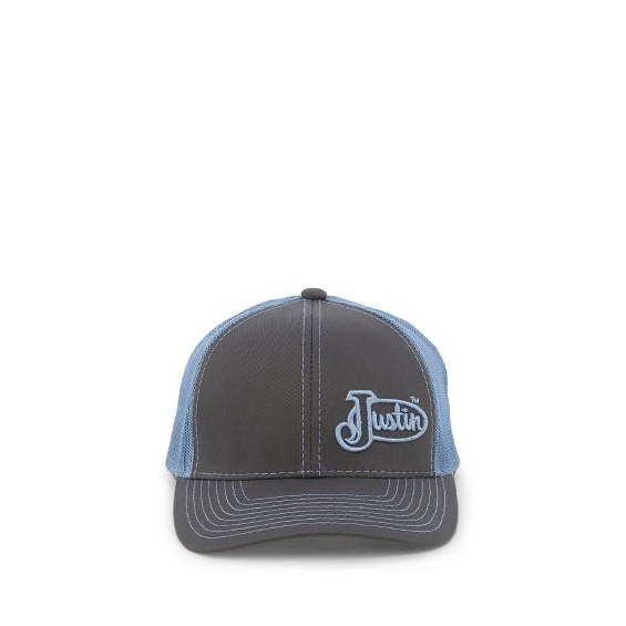 Image for JUSTIN CAP-CHARCOAL W/BLUE MESH ; Style# JCBC009CB