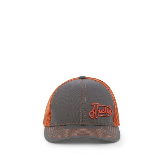Image for JUSTIN CAP-CHARCOAL W/ORANGE MESH ; Style# JCBC009CO