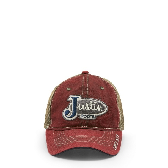 Image for JUSTIN CAP-RED W/MESH BACK ; Style# JCBC016R