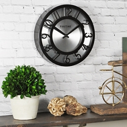 "Black and Steel 8"" Wall Clock, 86439"
