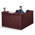 "Solutions Reception L-Desk with Left Return and Full Pedestal - 71""W, 10070"