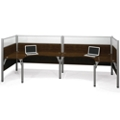 "Double Back-to-Back Open L-Desk Workstation with Four 55.5""H Acrylic Panels, 13222"