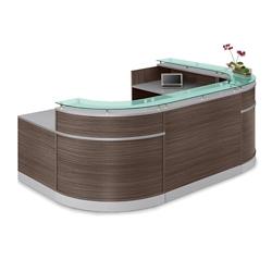 "Esquire Glass Top U-Shaped Reception Desk with ADA Return - 110""W x 79""D, 10349"