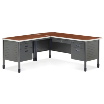 Perforated Metal L Desk With Left Return, 11320
