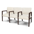 Vinyl Three Seater with Faux Wood Frame, 26538