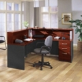 Reversible L Desk with Assembled Pedestals, 76891