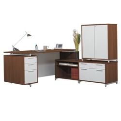 Hi-Low L-Desk with Storage Cabinet, 13179