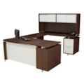 Flush-Top U Desk with Hutch, 13182
