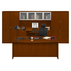 Fairbanks Executive Bowfront Desk with Storage Wall, 13355