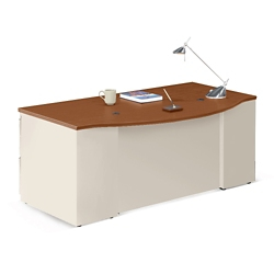 "Alloy Metal Bowfront Executive Desk - 72""W, 13913"