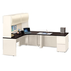 "Alloy Metal L Desk with Right Return and Hutch - 72""W, 13916"