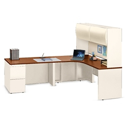 "Alloy Metal L Desk with Left Return and Hutch - 72""W, 13917"