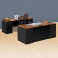 "Alloy Metal Executive Desk and Credenza Set - 72""W, 13918"