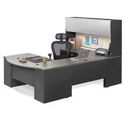 "Alloy Metal U Desk with Hutch - 72""W, 13920"