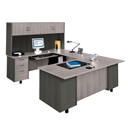 U-Desk with Left Bridge and Hutch, 15268