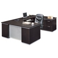 Executive U-Desk with Right Bridge and File Credenza - Fully Assembled, 15459