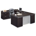 Executive U-Desk with Left Bridge and File Credenza - Fully Assembled, 15460