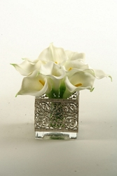 "Calla Lilies In Glass Vase- 8""H, 91469"