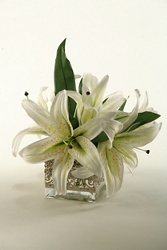 "Lilies In Glass Cube- 11""H, 92348"