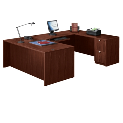 u shaped desk shop wrap around desk with desk hutch nbf com rh nationalbusinessfurniture com u shaped home office furniture U-shaped Desk with Hutch