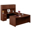 "Contemporary Bow Front U-Desk and Hutch - 71""W x 113""D, 15778"