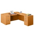 "Contemporary Bow Front L-Desk - 71""W x 89""D, 15779"