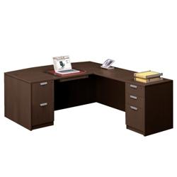 "Contemporary Bow Front L-Desk - 71""W x 89""D, 15779"