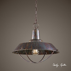 One Light Oxidized Bronze Pendant, 82599