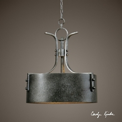 Three Light Metal Drum Pendant, 82602