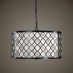Three Light Silver Filigree Accent Drum Pendant, 82604