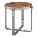 "Solid Fir Wood Side Table with Metal Frame - 23.625""DIA, 46242"