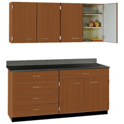 Five Drawer Six Door Wall And Base Cabinet Set 60 W