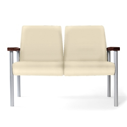 Metal Legged Vinyl Two-Seat Outside Arm Guest Chair , 25592