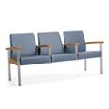 Metal Legged Vinyl Three-Seat Half Arm Guest Chair, 25593