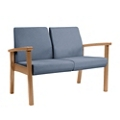 Wood Legged Vinyl Two-Seat Outside Arm Guest Chair , 25944