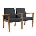 Wood Legged Vinyl Two-Seat Full Arm Guest Chair, 25946