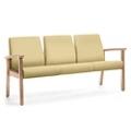 Wood Legged Vinyl Three-Seat Outside Arm Guest Chair , 25947