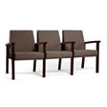 Wood Legged Vinyl Three-Seat Full Arm Guest Chair , 25949