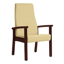Wood Legged Vinyl High-Back Guest Chair , 25951
