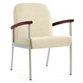 "Wood Arm Vinyl Guest Chair - 21""W Seat, 26047"