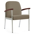 "Wood Arm Vinyl Guest Chair - 24""W Seat, 26048"