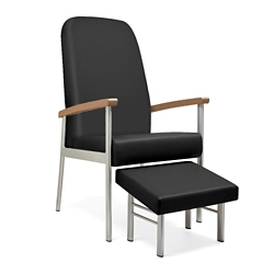 "Wood Arm Vinyl High-Back Guest Chair - 21""W Seat, 26050"