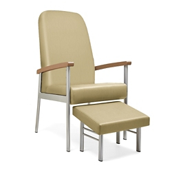 """Wood Arm Vinyl High-Back Guest Chair with Footrest - 24""""W Seat, 26057"""
