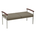 "Wood Arm Vinyl Two Seater Bench - 44.5""W Seat, 26056"