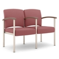 Polyurethane Two Seater with Metal Frame and Center Arm, 26327