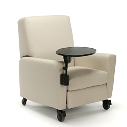 Oliver Push-Back Vinyl Recliner with Casters and Tablet Arm, 26488